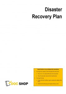 Disaster Recovery Plan Page 1