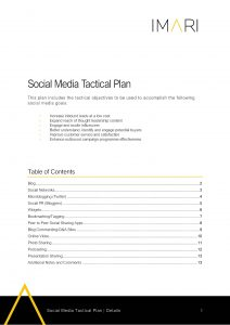 MAR002 Social Media Tactical Plan Imari Template Page 01 scaled
